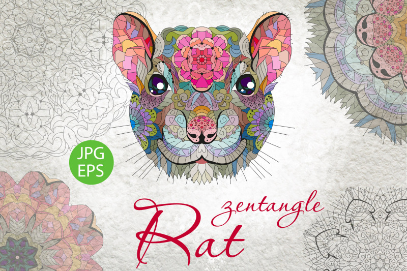 zentangle-rat-head