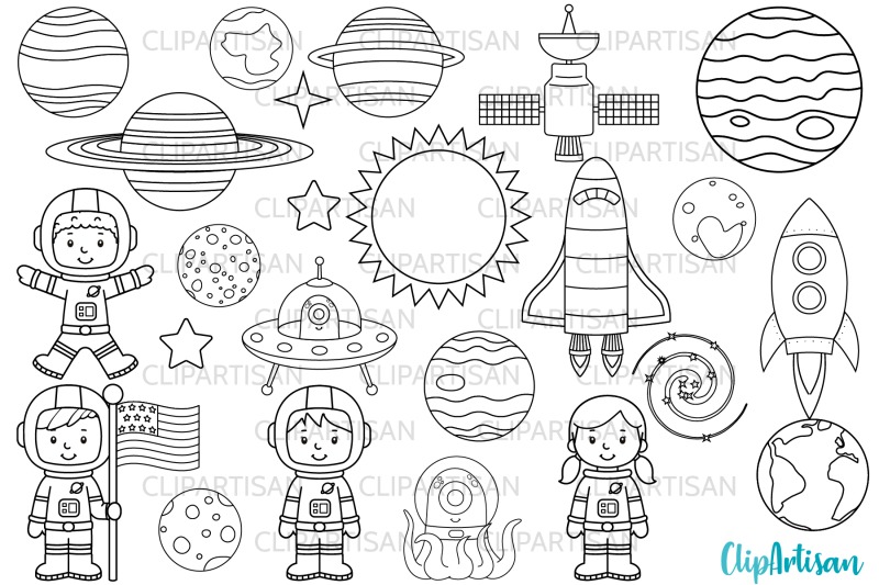 astronauts-in-space-digital-stamps
