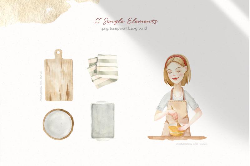 baking-at-home-watercolor-clipart
