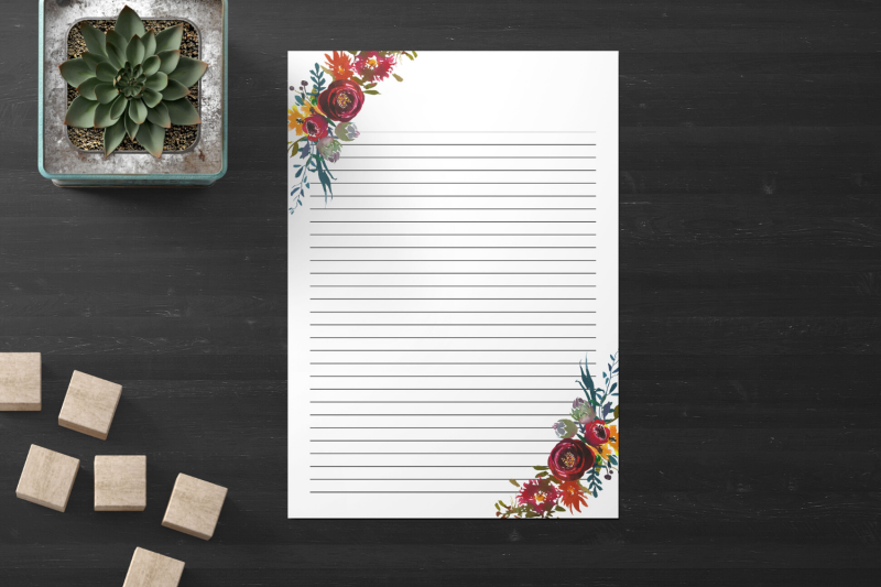 floral-printable-stationery-lined-digital-note-paper