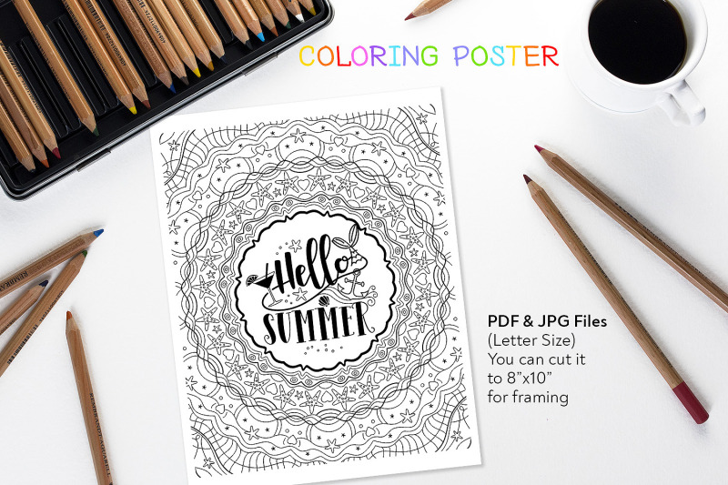 hello-summer-anti-stress-quote-for-coloring
