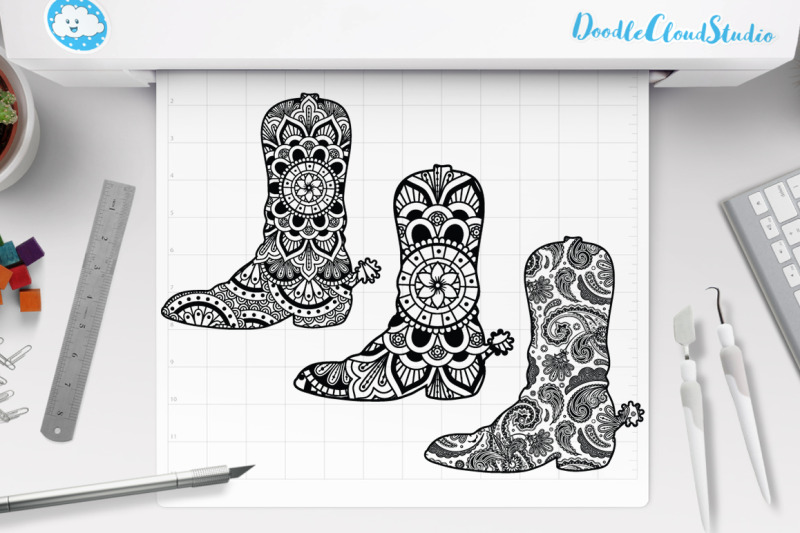 cowboy-boot-mandala-svg-country-western-mandala-clipart-cowgirl