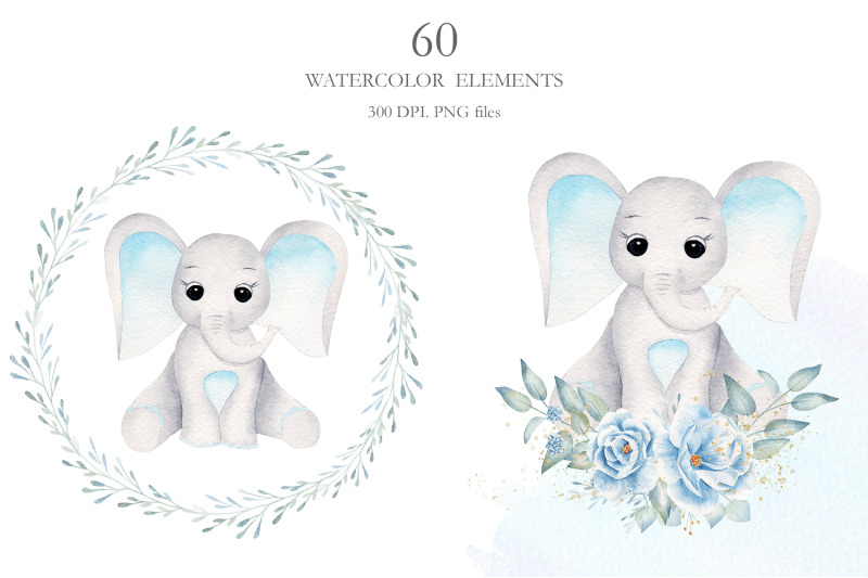 watercolor-baby-boy-elephants-collection