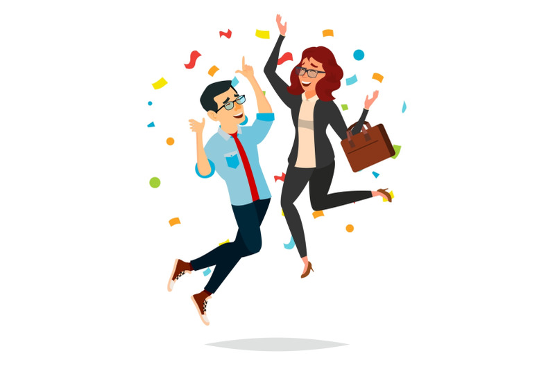 business-couple-jumping-vector-man-and-woman-entrepreneurship-accomplishment-best-worker-achiever-modern-office-employee-manager-celebrating-success-isolated-cartoon-character-illustration