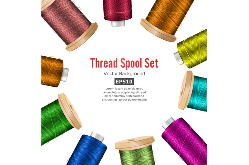 thread-spool-banner-circle-border-place-for-text-stock-vector-illustration-of-yarn-or-cotton-bobbin-reel-isolated-on-white-background