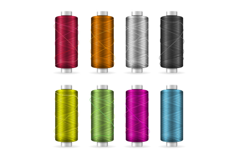 thread-spool-set-bright-plastic-bobbin-isolated-on-white-background-for-needlework-and-needlecraft-stock-vector-illustration
