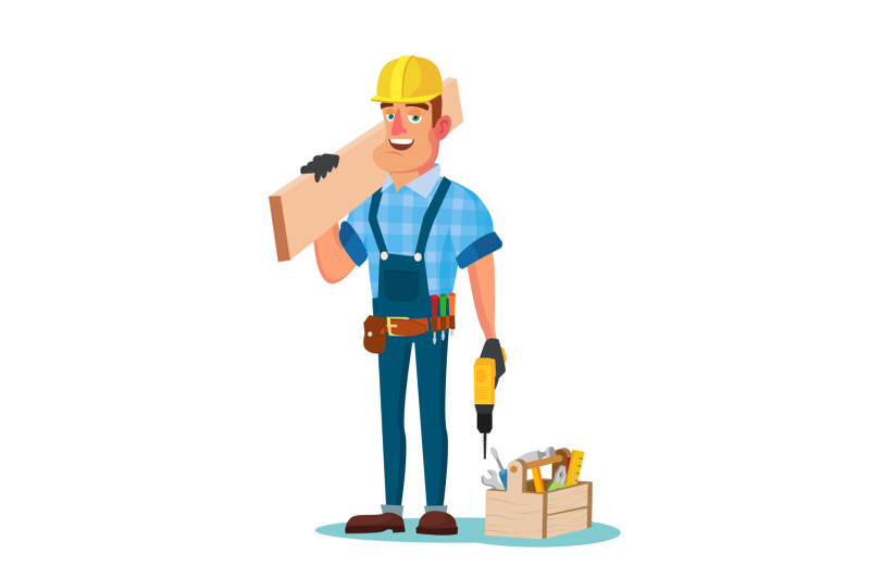 construction-worker-building-timber-frame-vector-classic-uniform-and-helmet-wooden-boards-flat-cartoon-illustration