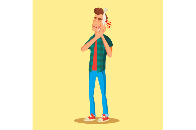 man-with-toothache-vector-man-with-toothache-and-bandage-concept-for-dentist-diseases-tooth-day-isolated-on-white-cartoon-character-illustration