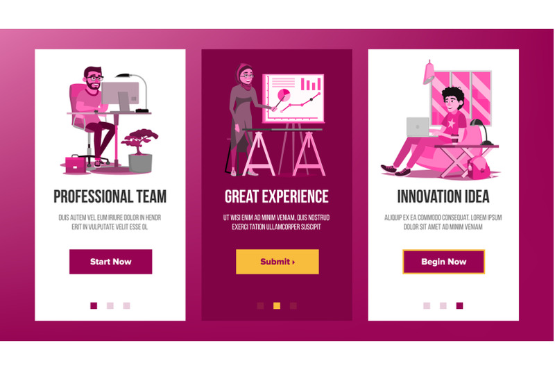 web-page-banners-design-vector-business-graphic-future-energy-project-cartoon-team-increase-experience-illustration