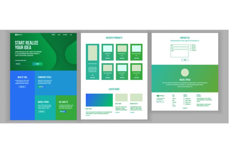 website-design-template-vector-business-landing-shopping-online-web-page-it-technology-optimization-progress-commercial-communication-responsive-blank-illustration