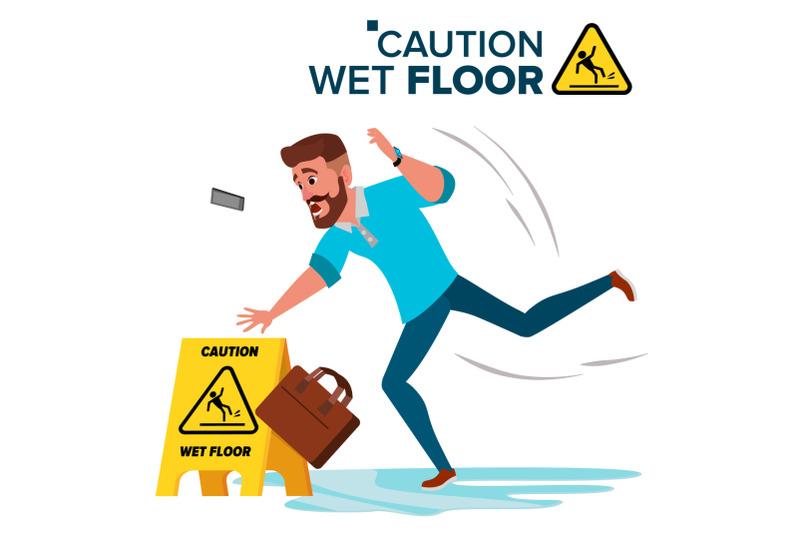 man-slips-on-wet-floor-vector-caution-sign-isolated-flat-cartoon-character-illustration