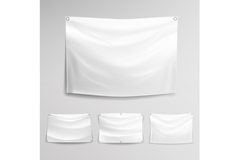 white-banner-set-vector-horizontal-hanging-banners-mock-up-textile-fabric-or-nylon