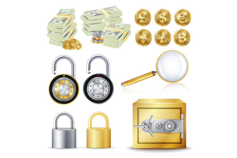 finance-secure-concept-vector-gold-coins-money-banknotes-stacks-encryption-padlock-safe-magnifying-glass-dollar-euro-gbp-bitcoin-litecoin-etherum-banking-illustration-isolated-on-white
