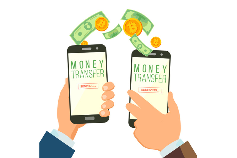 mobile-money-transferring-banking-concept-vector-hand-holding-smartphone-dollar-and-bitcoin-wireless-finance-sending-and-receiving-modern-finance-economic-isolated-illustration