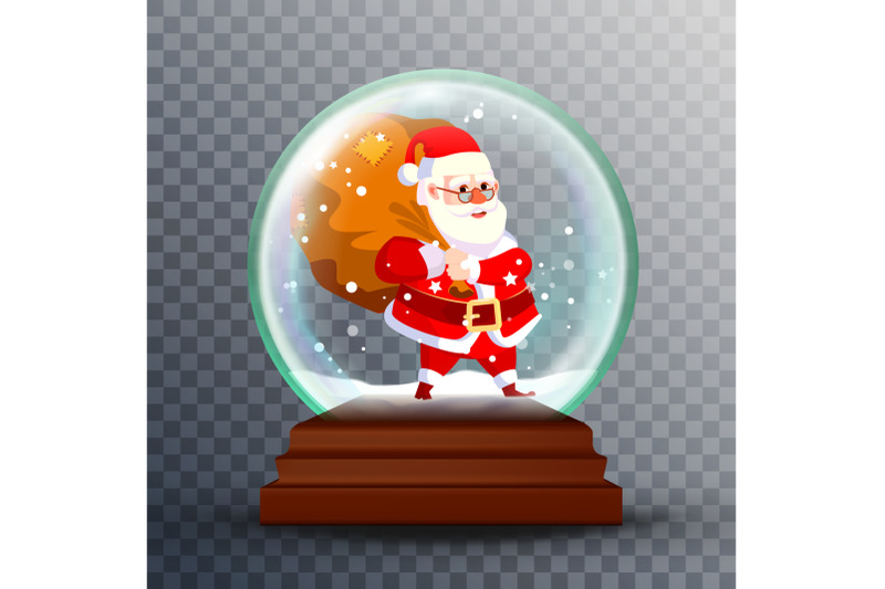 christmas-snow-globe-realistic-vector-cute-santa-claus-with-gifts-realistic-3d-snow-globe-toy-winter-xmas-design-element-isolated-on-transparent-background-illustration