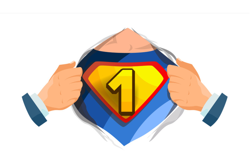 number-one-sign-vector-superhero-open-shirt-with-shield-badge-isolated-flat-cartoon-comic-illustration
