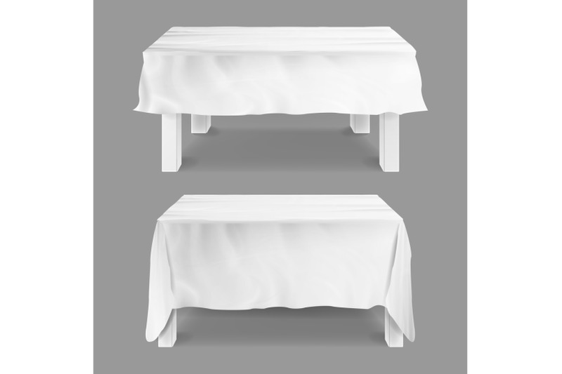 table-with-tablecloth-set-vector-empty-rectangular-tables-with-white-tablecloth-isolated-on-gray-illustration