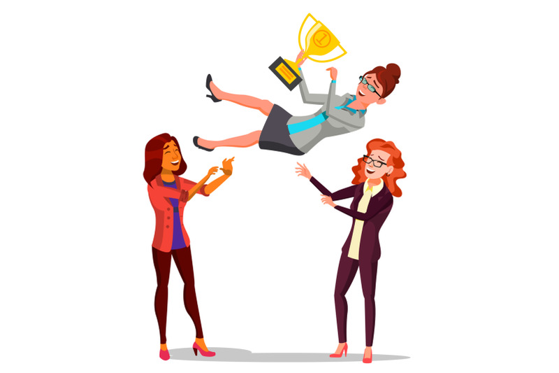 winner-business-woman-vector-throwing-colleague-up-colleague-celebrating-goal-achievement-holding-golden-cup-champion-number-one-flat-cartoon-illustration