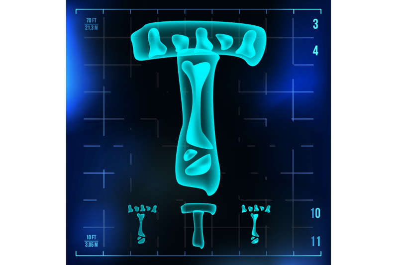 t-letter-vector-capital-digit-roentgen-x-ray-font-light-sign-medical-radiology-neon-scan-effect-alphabet-3d-blue-light-digit-with-bone-medical-pirate-futuristic-horror-style-illustration