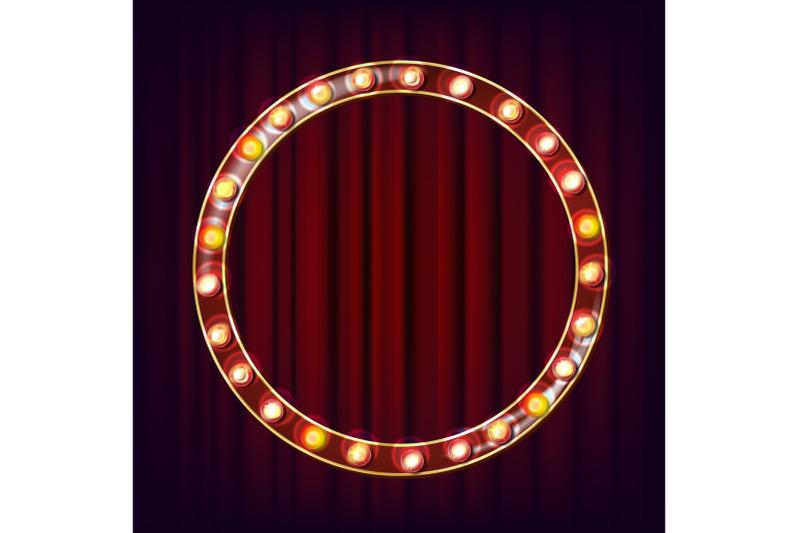 retro-billboard-vector-shining-light-sign-board-realistic-shine-lamp-frame-glowing-element-vintage-neon-light-circus-casino-style-illustration