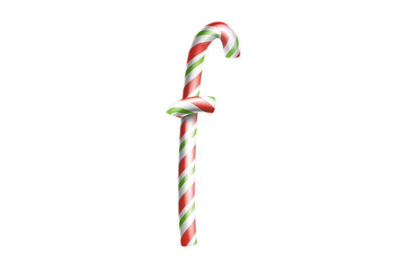 Letter F Vector 3d Realistic Candy Cane Alphabet Symbol In
