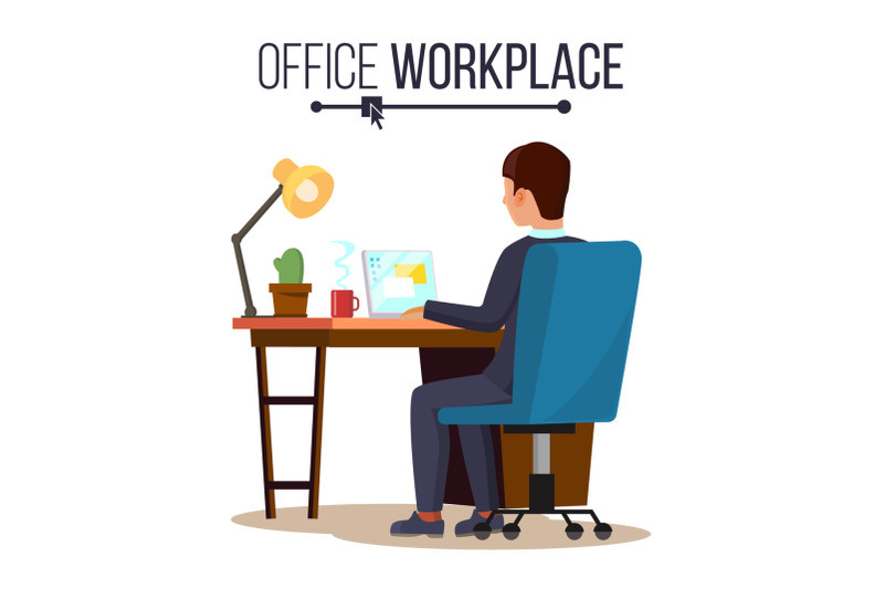office-workplace-concept-vector-business-man-or-clerk-working-at-office-desk-flat-style-color-modern-vector-illustration