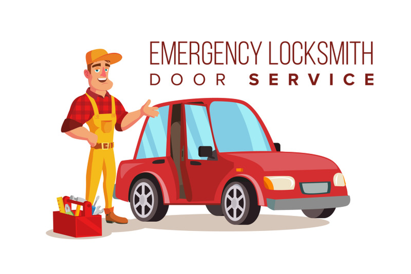 car-locksmith-worker-service-vector-classic-serviceman-isolated-on-white-cartoon-character-illustration