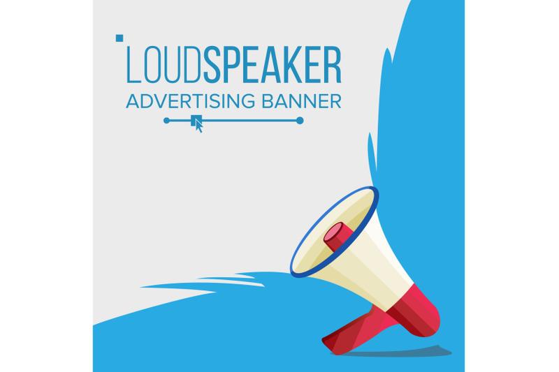 megaphone-banner-vector-elections-symbol-banner-for-business-promotion-flat-cartoon-illustration