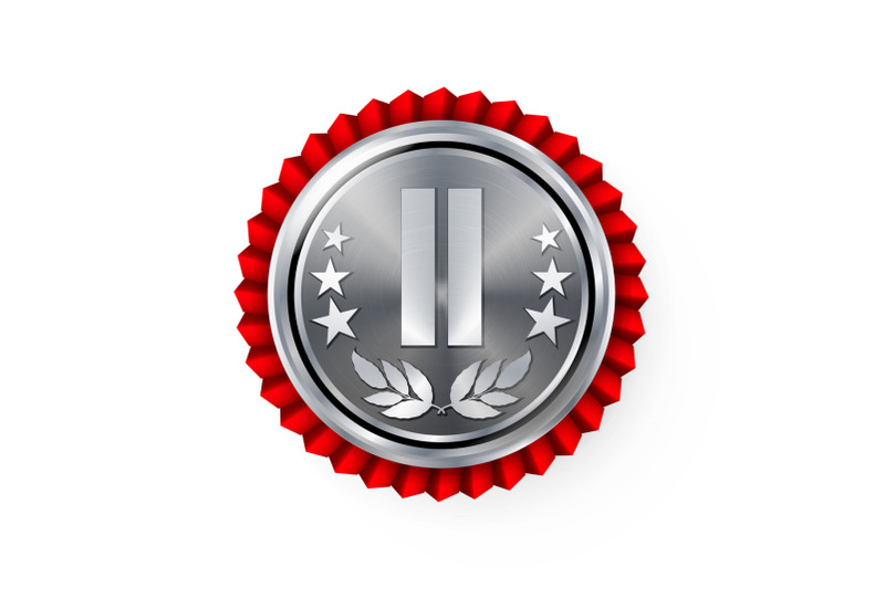 silver-2st-place-rosette-badge-medal-vector-realistic-achievement-with-best-second-placement-round-championship-label-with-red-rosette-ceremony-winner-honor-prize-sport-game-challenge-award