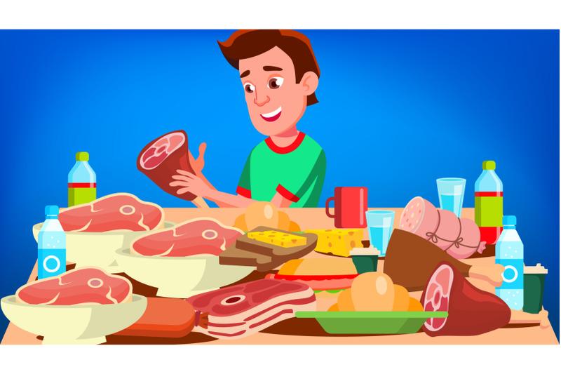 mukbang-eating-show-vector-guy-social-eating-popular-video-streamer-blogger-illustration