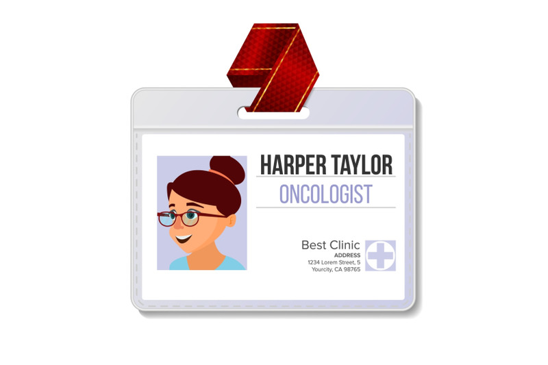 oncologist-identification-badge-vector-woman-name-tag-blank-medicine-health-medical-face-isolated-cartoon-illustration