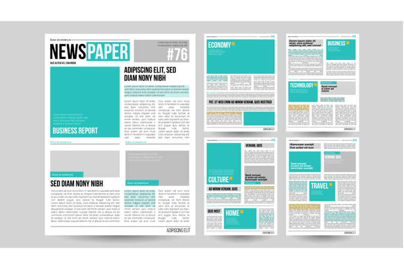 newspaper-template-vector-financial-articles-business-information-opening-editable-headlines-text-articles-realistic-isolated-illustration