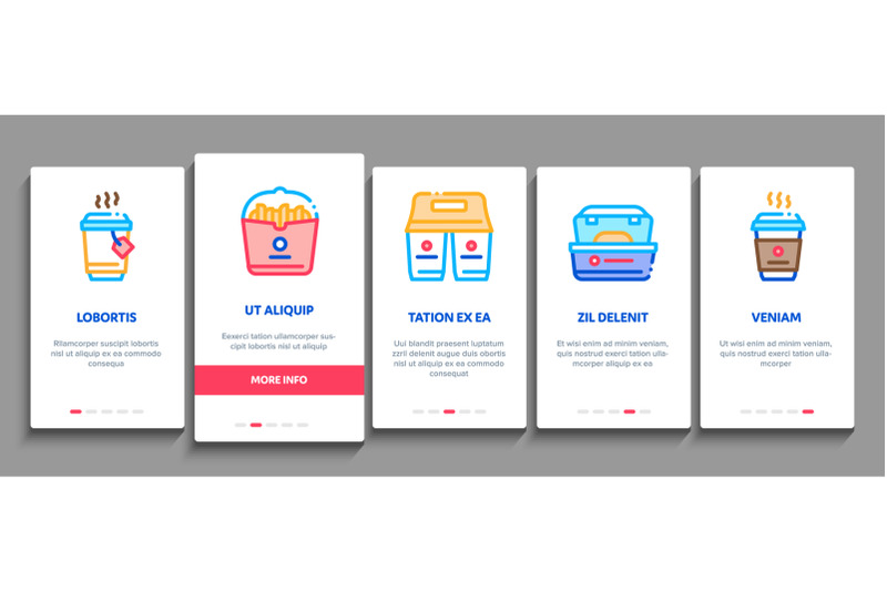 take-away-food-and-drink-delivery-onboarding-elements-icons-set-vector