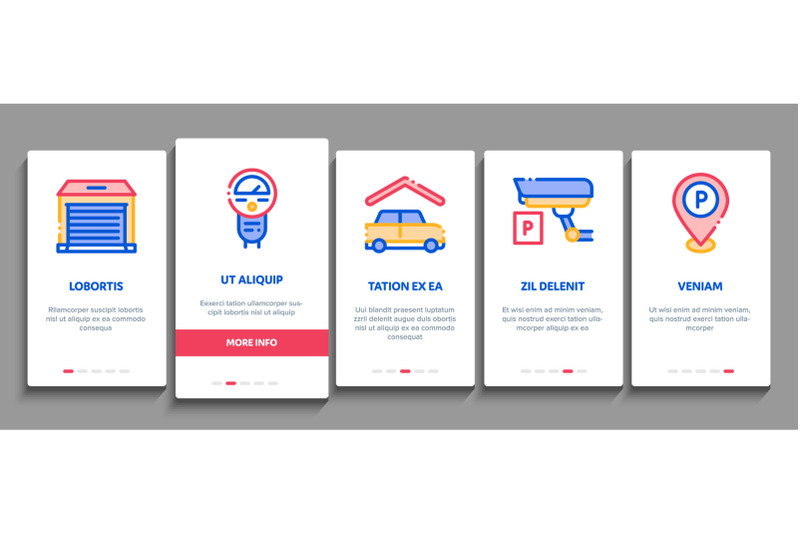 parking-car-onboarding-elements-icons-set-vector