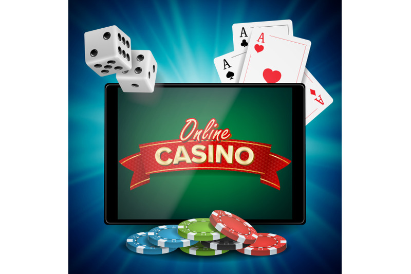 online-casino-vector-banner-with-tablet-bright-chips-dollar-coins-jackpot-casino-billboard-signage-marketing-luxury-poster-illustration