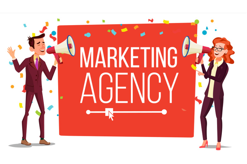marketing-agency-banner-vector-inbound-outbound-marketing-banner-male-female-with-megaphone-loudspeaker-place-for-text-isolated-illustration