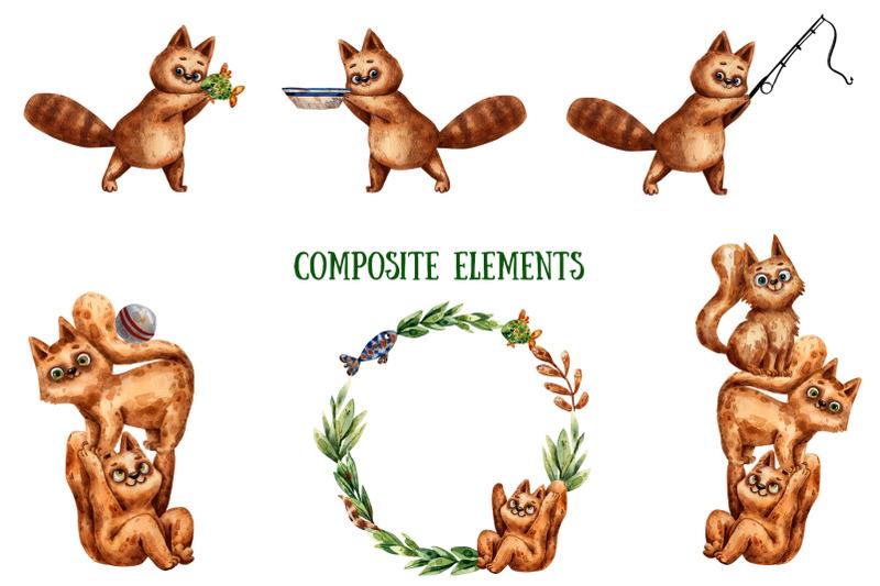 cats-anglers-watercolor-clip-art-set