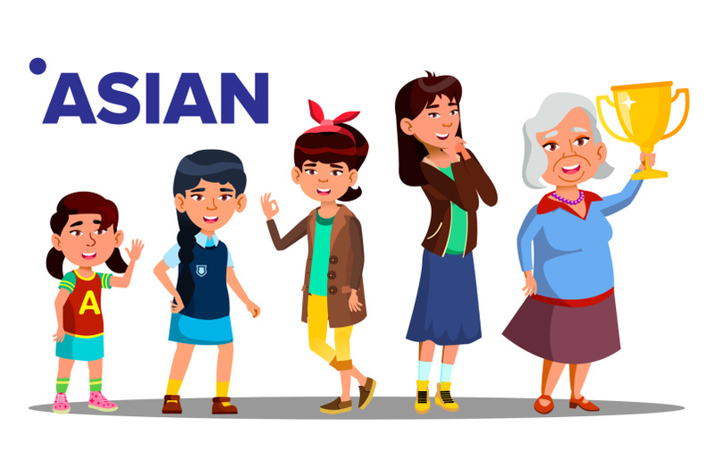 asiatic-generation-female-people-person-vector-asian-mother-daughter-granddaughter-baby-teen-isolated-illustration