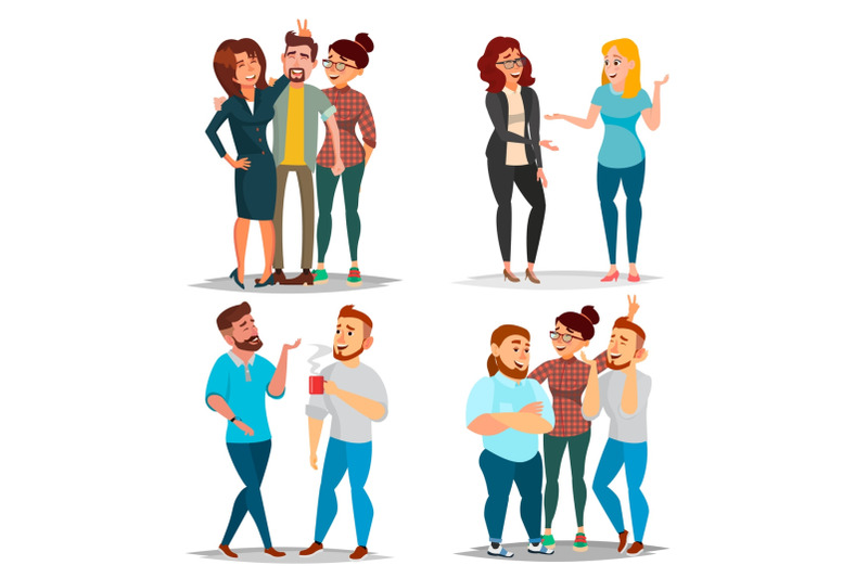friends-characters-set-vector-laughing-friends-office-colleagues-business-situations-man-and-women-take-a-picture-friendship-concept-isolated-flat-cartoon-illustration