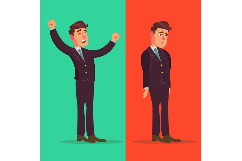 happy-and-unhappy-businessman-vector-good-and-bad-right-and-wrong-like-and-dislike-isolated-flat-cartoon-character-illustration