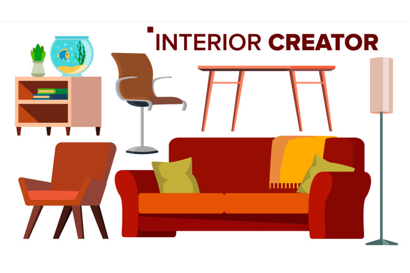 furniture-creator-vector-living-room-modern-chair-objects-sofa-armchair-lamp-table-bedside-table-isolated-flat-cartoon-illustration
