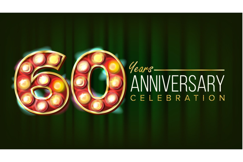 60-years-anniversary-banner-vector-sixty-sixtieth-celebration-3d-glowing-element-digits-for-flyer-card-wedding-advertising-design-classic-green-background-illustration