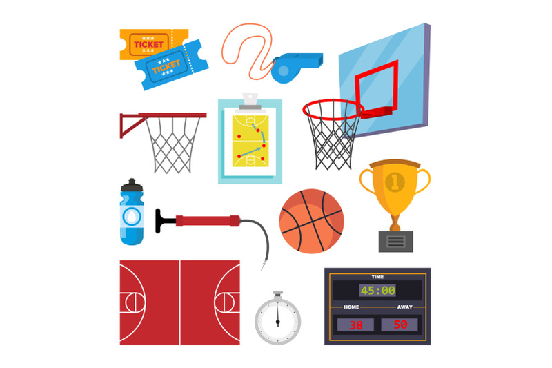 basketball-icons-set-vector-sport-basketball-symbol-and-accessories-isolated-flat-cartoon-illustration