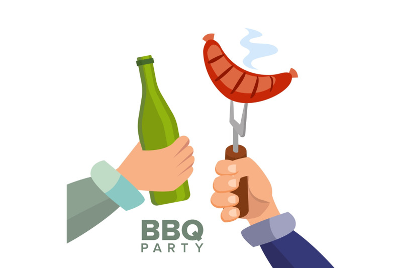 barbecue-party-concept-vector-cooked-hot-sausage-hand-holding-a-bottle-of-beer-invitation-card-bbq-grill-picnic-isolated-flat-cartoon-illustration
