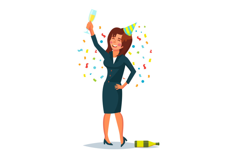 drunk-business-woman-vector-corporate-party-relaxing-concept-meet-up-party-celebrating-victory-in-office-flat-cartoon-illustration