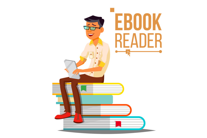 e-book-reader-vector-man-contemporary-education-stack-of-books-traditional-textbook-vs-ebook-isolated-flat-cartoon-illustration