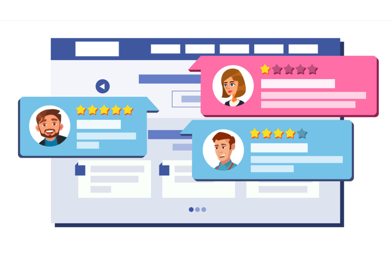 review-rating-web-page-design-vector-online-store-shop-market-client-testimonials-concept-good-bad-rate-positive-negative-rate-speech-bubbles-isolated-flat-illustration