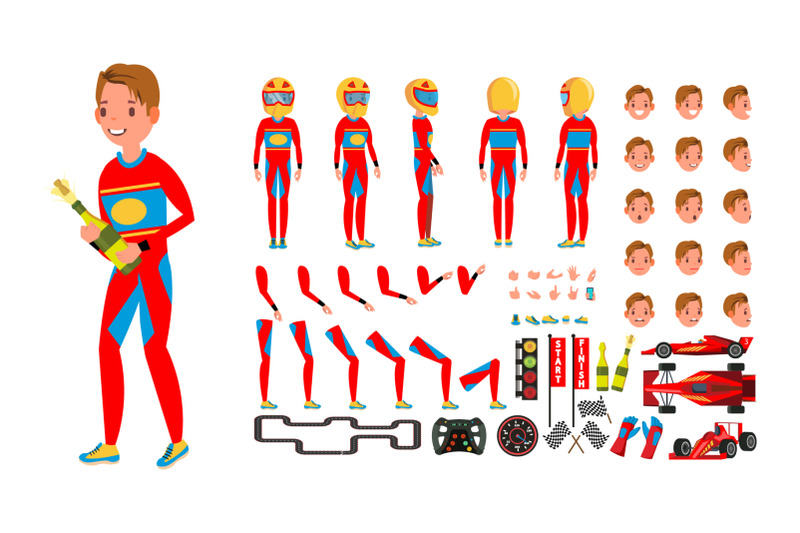 sport-car-racer-male-vector-red-uniform-rally-race-car-driver-animated-character-creation-set-man-full-length-front-side-back-view-auto-drawing-accessories-emotions-gestures-illustration