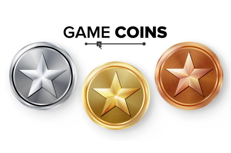 game-gold-silver-bronze-coins-set-vector