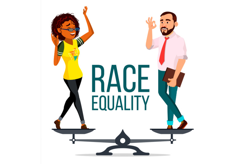 race-equality-vector-on-scales-people-different-race-and-skin-color-equal-rights-isolated-flat-cartoon-illustration